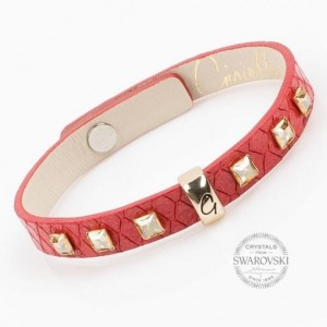Bransoleta 0168 Gold Red Rivets GSHA